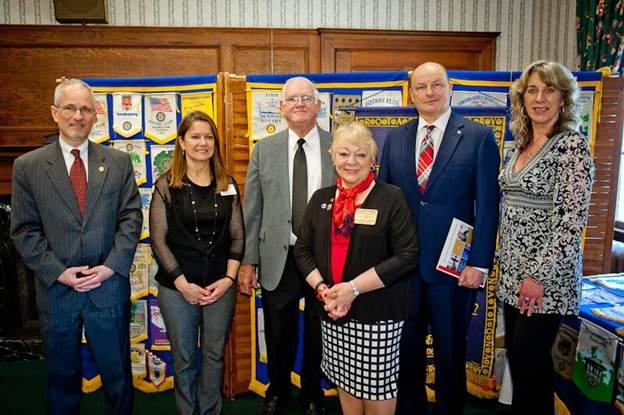 Pictured here:  (L-R) Roger Cabral, Assistant District Governor; Cheryl Barrett, President; John Remedis, Inductee; Valarie Perry, District Governor; Joseph Michaud, Inductee; Dori Rubbicco Legge, Inductee.